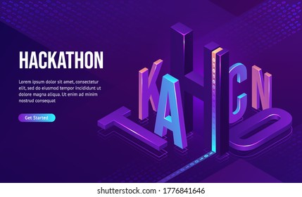 Hackathon isometric landing page. 3d typography with binary code on purple neon colored background. Computer software development, coding, adaptive layout, work with data concept, vector web banner