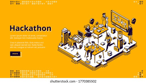 Hackathon isometric landing page. Team of computer programmers, project managers, graphic designers develop software, coding, create adaptive layout, work with data, 3d vector line art web banner