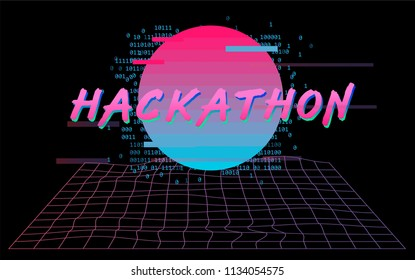 Hackathon poster/flyer/banner template. Cyber landscape with warped laser grid and synthwave glitched sun, 80s-90s retrowave webpunk style.
