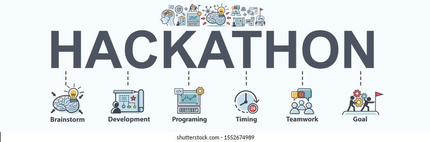 Hackathon technology banner concept with team working together on programming, web developers, designers, project managers, brainstorm and development. Minimal vector infographic.