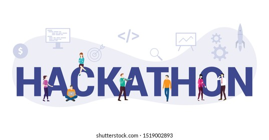 hackathon technology programming startup concept with big word or text and team people with modern flat style - vector