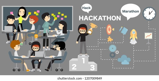Hackathon, working, people, winner, isometric, business, vector, team, flat, recognition, man, computer, work, web, reward, development, employee, project, illustration, competition, achievement, offi