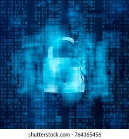Hacked firewall concept. Broken security system, Cybercrime.  broken lock on matrix background. vector illustration