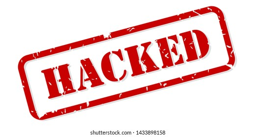 Hacked red rubber stamp vector isolated