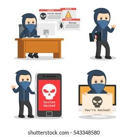 hacker in action set