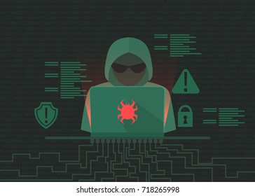 Hacker activity banner. Programmer writes viruses and hacks. Dos attack. Vector flat illustration