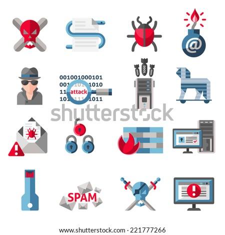 Hacker Activity Computer Email Spam Viruses Stock Vector