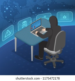 Hacker activity concept. Hacker sitting at table and hacking data through Internet on laptop. Internet Security vector isometric with Flat style Icons Virus and Bug.