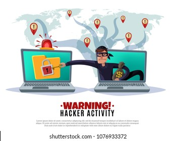Hacker activity, cracker during attack on computer security system on world map background, horizontal cartoon vector illustration