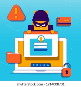 Hacker activity. Hacking computer. Concept: phishing account, steal data, cyber attack. Stealing password. Cyber crime, theft personal information, cyber security, spy access. Vector illustration.