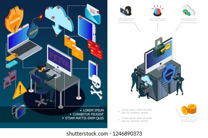 Hacker activity and internet security concept with computer password devices mail datacenter hacking virus attack financial cyber crimes in isometric style vector illustration