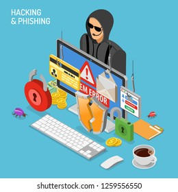 Hacker activity isometric concept. Hacking and phishing. Hacker steals password, credit card and email. Internet Security vector with flat isometric style icons hacked lock, bug and computer