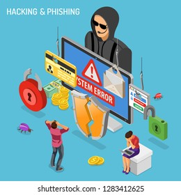 Hacker activity isometric concept. Hacking and phishing. Hacker steals password, credit card and email. Internet Security vector with flat isometric icons people, hacked lock, bug and computer