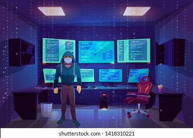 Hacker anonymous in mask in server room with multiple computer monitors displaying secret information. Office with pc screens, matrix cybercrime with binary code background Cartoon vector illustration