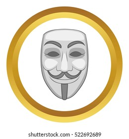 Hacker or anonymous mask vector icon in golden circle, cartoon style isolated on white background