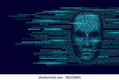 Hacker artificial intelligence robot danger dark face. Cyborg binary code head shadow online hack alert personal data intellect mind virtual information vector illustration