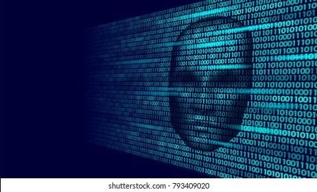 Hacker artificial intelligence robot danger dark face. Cyborg binary code head shadow online hack alert personal data intellect mind virtual information vector illustration art
