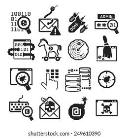 Hacker attack icons set // BW Black & White