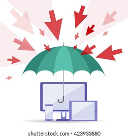 Hacker attack and safety digital technology concept. Vector flat illustration of cursors, umbrella, computers, telephone. Viruses attack, guard protects data. Element for web, brochure, presentation.
