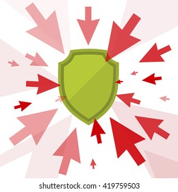 Hacker attack and secure digital technology concept. Vector flat illustration of cursors and shield. Computer pointers attack, guard protects data. Design element for brochure, banner, social networks