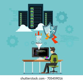 Hacker attacking server or database. Thief or hacker is stealing data from server. Hacking computer concept.