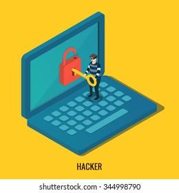 Hacker breaks into computer. Isometric 3d vector illustrations