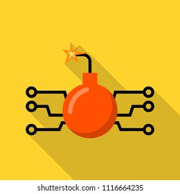 Hacker computer bomb icon. Flat illustration of hacker computer bomb vector icon for web design