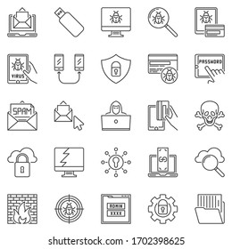 Hacker and Computer Virus outline icons set. Vector Cyber Security linear concept symbols