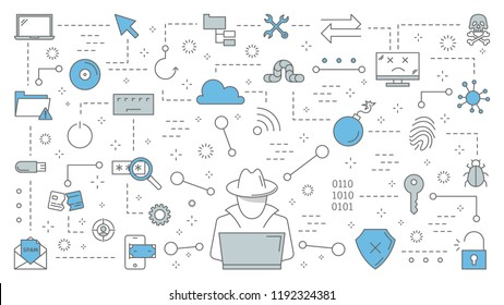 Hacker concept. Cyber spy steal digital data from the laptop. Thief attack computer system. Hacking in the internet. Set of line icons. Isolated flat vector illustration