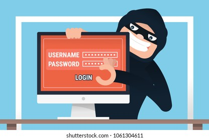 Hacker concept. hacker hacked username and password. internet security concept.