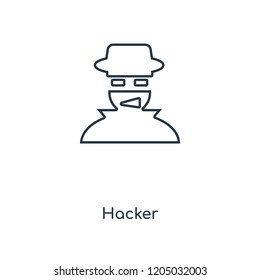 Hacker concept line icon. Linear Hacker concept outline symbol design. This simple element illustration can be used for web and mobile UI/UX.