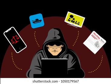 hacker creating fake news vector