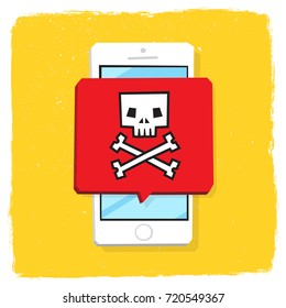 Hacker cyber attack on mobile phone. Smartphone malware notification. Skull bones. Speech bubble alert, concept of spam data, fraud internet error message, insecure connection, online scam, virus.