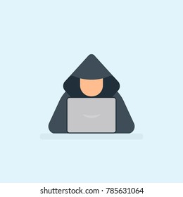 Hacker flat icon. Vector image isolated on background.