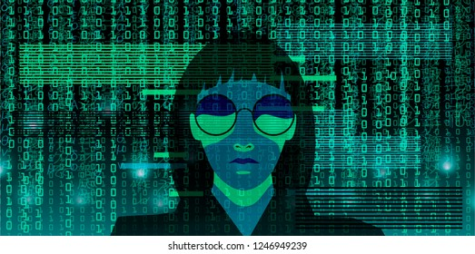 A hacker girl wearing black hood and glasses on matrix rain background from binary code and random symbols. Cyberpunk style vector illustration.