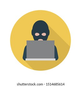 hacker glyph flat vector icon