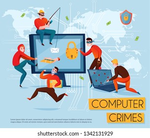 Hacker group composition with computer crimes headline and five scammers steal information vector illustration