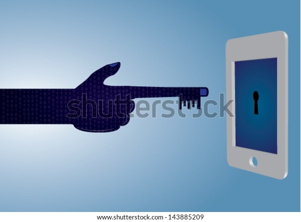 Hacker / Hacking Creative Concept - Vector Background showing a 3D Smartphone about to be hacked / unlocked by a hacker's hand.