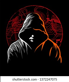 Hacker with the hoodie and digital symbols on black background. Vector illustration.