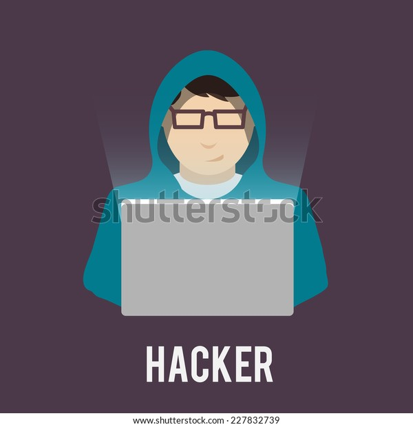 Hacker Icon Man Hoody Laptop Flat Stock Vector Royalty Free 227832739