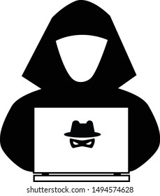 hacker icon on white background. flat style. anonymous spy icon for your web site design, logo, app, UI. spy agent searching on laptop. cyber crime sign.