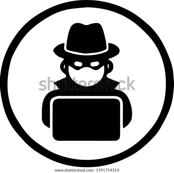 Hacker Icon On White Background Stock Vector Royalty Free 1391754314