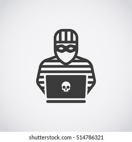 Hacker Icon. Thief in a mask with laptop