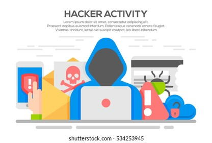 Hacker internet computer security technology flat concept. Hacker activity computer and e-mail spam viruses bank account hacking.Hacker activity computer and e-mail spam viruses bank account hacking.