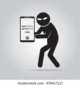 Hacker, Internet security concept. protection to stealing a data on mobilephone