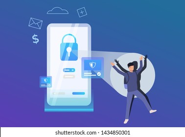 Hacker keeping hands up. Smartphone with blue lock and alert notifications. Hacker attack failure concept. Vector illustration can be used for antivirus, cybercrime, catching criminal