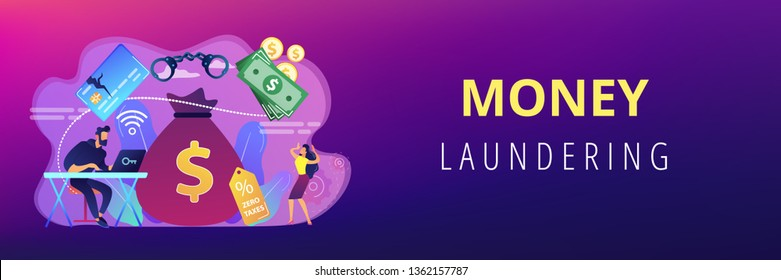 Hacker at laptop commiting financial fraud and stealing huge bag with money. Financial crime, money laundering, black market goods concept. Header or footer banner template with copy space.