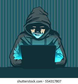 hacker with laptop, hacking the Internet, concept vector illustration, activity, computer security technology concept, e-mail spam viruses bank account hacking