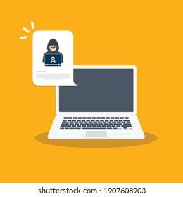 Hacker, malware notification on laptop. Laptop computer with hacker alert, spam data on laptop fraud error message, scam, virus. Flat vector illustration.
