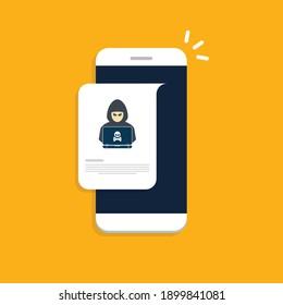 Hacker, malware notification on mobile phone. Smartphone with hacker alert, spam data on cellphone fraud error message, scam, virus. Flat vector illustration.
